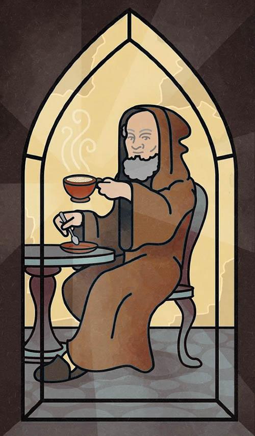Монах капуцин пьет капучино
